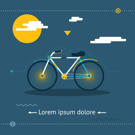 Travel & Healthy Lifestyle, symbol Bicycle Modern Flat Design Template  Vector