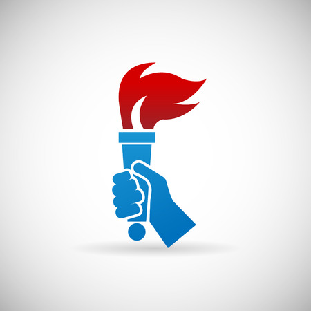 Victory Flame Symbol Hand hold fire Torch Icon Design Template Vector