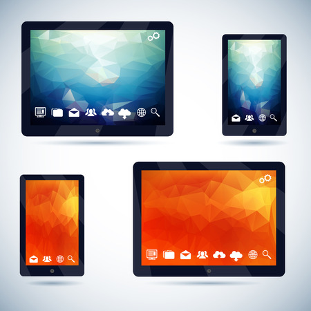 Polygonal Abstract background on Mobile Devices with Icons