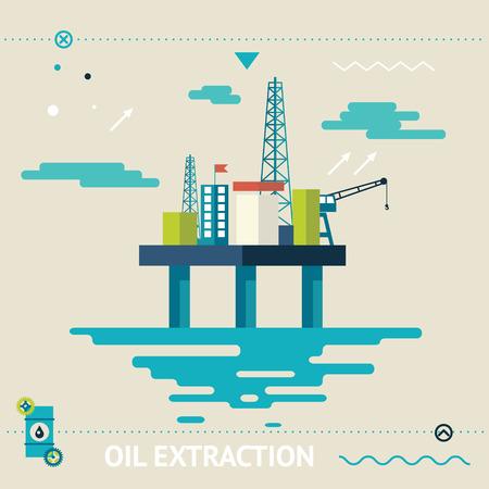 torres petroleras: Offshore Oil Plantilla de Diseño Plataforma Extracción Modern Flat