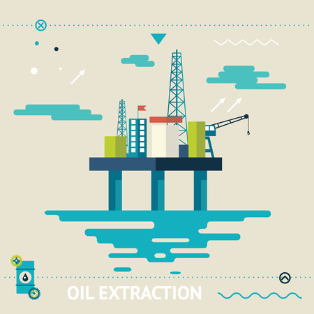 oil change: Oil Offshore Platform Extraction Modern Flat Design Template Illustration