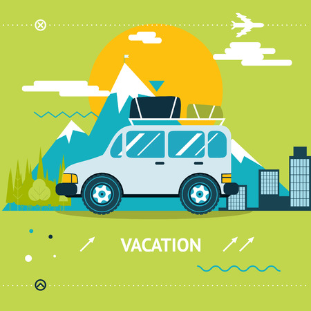commercial tree service: Travel Lifestyle Concept Tourism and Journey Symbol Car Forest