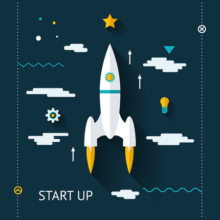 rocketship: Retro Flat Design Space launch Start Up Concept New Business Project Development Innovation Product on Market on Stylish Color Background Vector Illustration