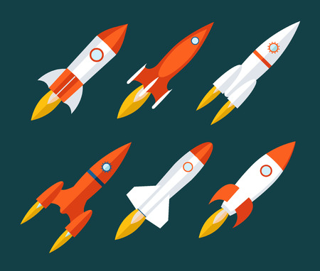 Rocket icons Start Up and Launch Symbol Innovation Development Trendy Modern Flat Design Icon Template  向量圖像