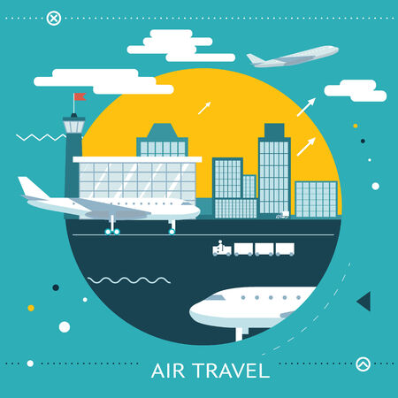Travel Lifestyle Concept of Planning a Summer Vacation Tourism and Journey Symbol Airplane Airport City  Flat Design Icon Template