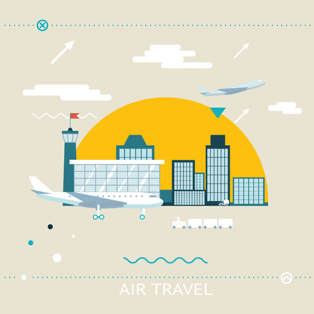 airplane landing: Travel Lifestyle Concept of Planning a Summer Vacation