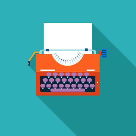 Retro Vintage Creativity symbol Typewriter and Paper Sheet Icon on Stylish Color Background
