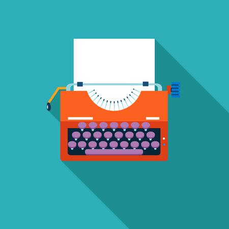 classic authors: Retro Vintage Creativity symbol Typewriter and Paper Sheet Icon on Stylish Color Background