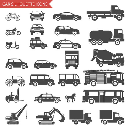 Auto's en Voertuigen Silhouet Pictogrammen Vervoer Symbolen Set Vector Illustratie Stock Illustratie