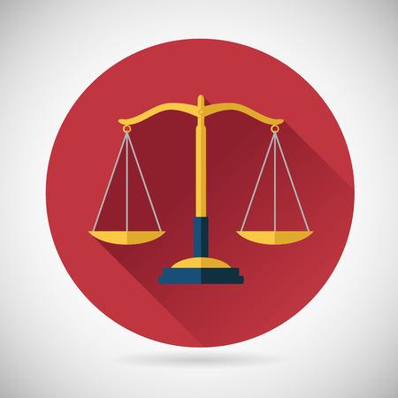 balanza en equilibrio: Escalas Ley de Conciliación de Justicia Símbolo Icono de estilo de diseño de fondo Modern Flat Vectores