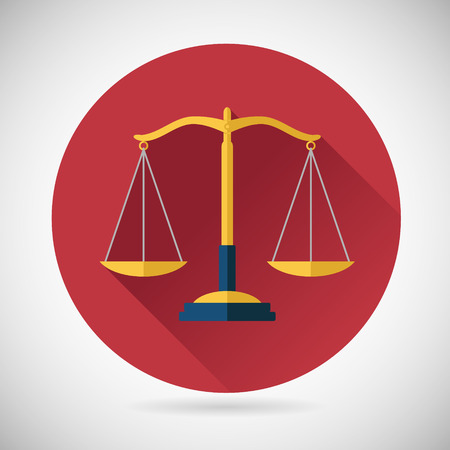 weighing scale: Law Balance  Symbol Justice scales Icon on Stylish Background Modern Flat Design