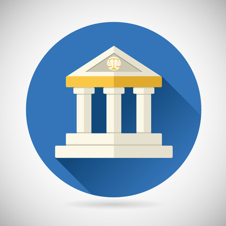 court symbol: Law Court, Museum or Bank House Symbol Justice, Finance, or History and Knowledge Icon on Stylish Background Modern Flat Design