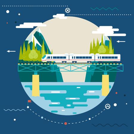 スタイリッシュな背景の近代的なフラットなデザインで夏の休暇、観光と旅シンボル鉄道鉄道旅行を計画  イラスト・ベクター素材