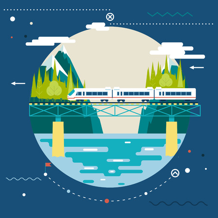 high speed railway: Planning Summer Vacation, tourism and Journey Symbol  Railroad Train Travel  on Stylish Background Modern Flat Design