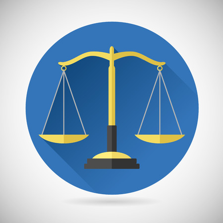 Wet Balance Symbool Justitie schalen pictogram op Modieuze Achtergrond Modern Flat Ontwerp Stock Illustratie