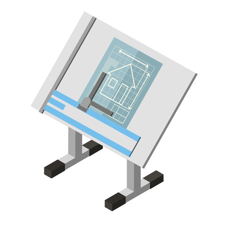 Projecting Engineer Table House architecture Drawing Isometric Icon  Vector