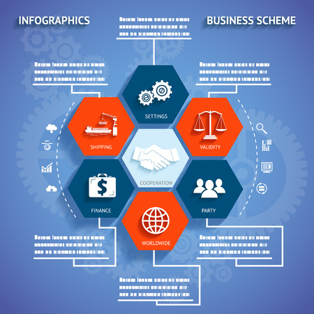barge: Infographics Modern Business Scheme with Icons and Symbol on Stylish Abstract Gears Background Vector Illustration