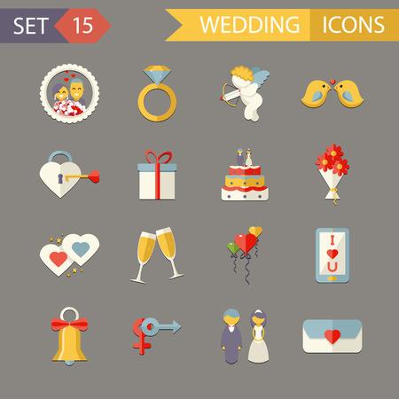 Flat Design Wedding Symbols bride and Groom Marriage Accessories Icons Set Trendy Modern Flat Design Template Vector Illustration Vector