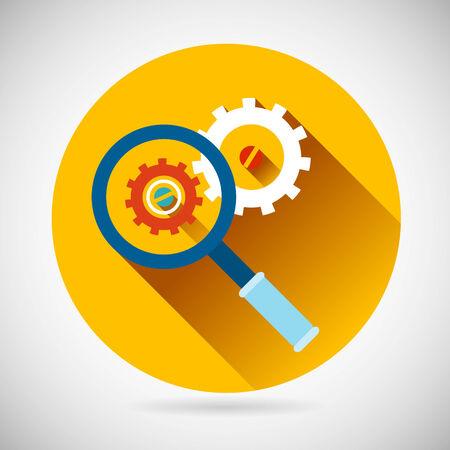 solucion de problemas: Soluci�n de problemas S�mbolo Lupa y Engranajes icono de fondo con estilo Ilustraci�n Piso Moderno dise�o vectorial Vectores