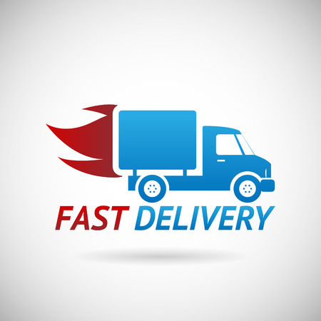 Fast Delivery Symbol Shipping Silhouette Icon Design Template Vector Illustration 向量圖像