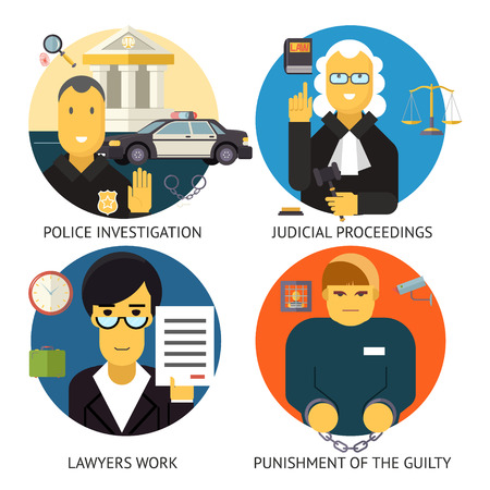 legal services: Justice Law and order Legal Services Symbol Crime Punishment  Responsibility Set Isolated Background Modern Flat Design Vector Illustration Illustration