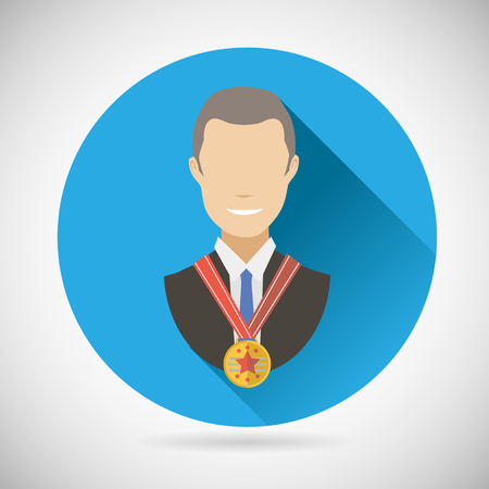 Winner Success Businessman Victory prize Award Symbol Bust with Medal Icon on Stylish Background Modern Flat Design Vector Illustration Vector