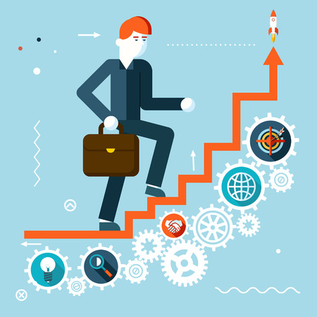 salesman: Businessman Goes to success on Infographic Stairs Symbol Gears icons on Stylish Background Modern Flat Design Vector Illustration
