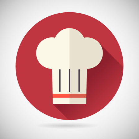chef hat: Chief Cook Symbol Toque cuisine Food Icon on Stylish Background Modern Flat Design Vector Illustration