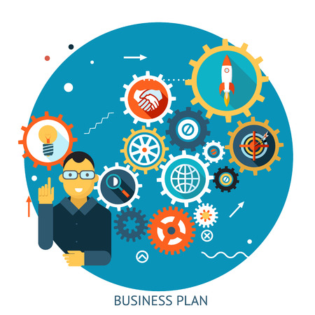 describes: Businessman Describes Successful Strategy Plan Infographic Symbol  Illustration