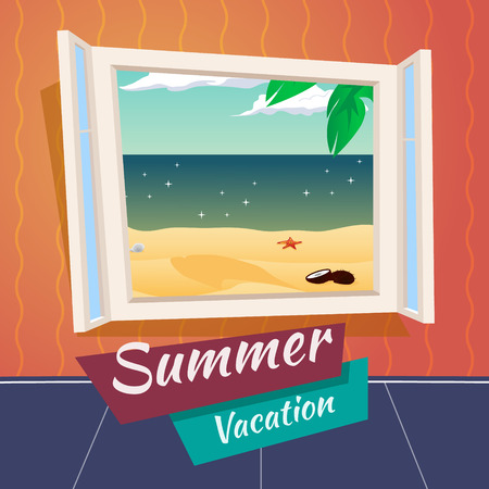 cartoon window: Summer Holiday Vacation Cartoon Open Window Sea Beach Retro Background  Illustration