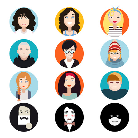 Avatar Collection of Stylish Handsome Male and Female Characters Faces Icons in Trendy Modern Flat Design  Vector