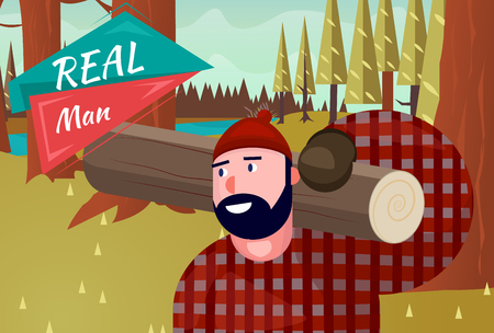 Real Man Lifestyle Natural Life Cartoon Retro Wood Background Illustration Vector