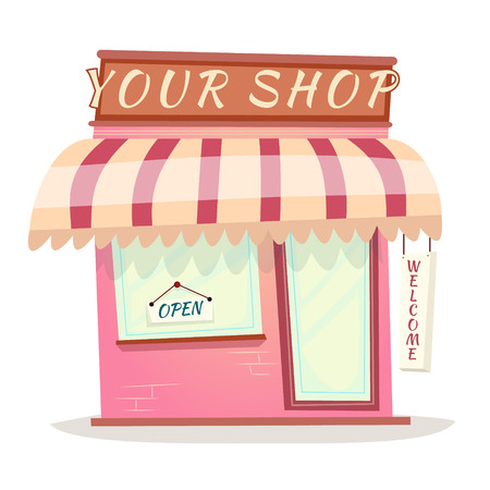 Your Retro Shop Icon House Cartoon Isolated Illustration