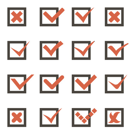 Check Marks Symbols Tick and Cross Icons Template Illustration Vector