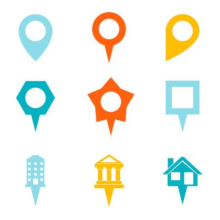 showplace: Landmark and Showplace Symbol Map Pointer Mark Icons Template Illustration