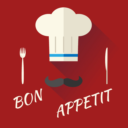toque: Chief Cook Symbol Toque Cuisine Hat with Mustache Food Icon on Stylish Background Modern Flat Design  Illustration