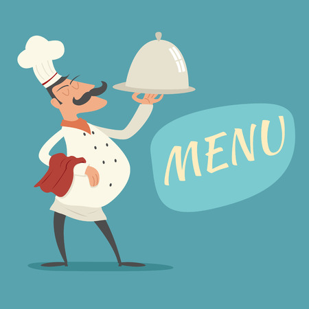 세련 된 배경 레트로 만화 디자인 벡터 일러스트 레이 션에 콧수염 음식 아이콘과 접시 기호 혀 요리 모자를 서빙 빈티지 최고 요리사