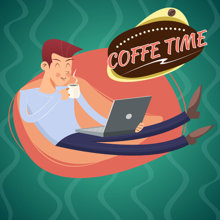 eager: Vintage Geek Eager Beaver Symbol Man with Laptop Drinks Coffee Icon on Stylish Background Retro Cartoon Design Vector Illustration