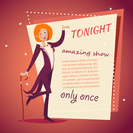 Circus Show Host Lady Meisje in Kostuum met Cane Icoon op Stijlvolle Retro Achtergrond van de Cartoon Ontwerp Vector Stock Illustratie