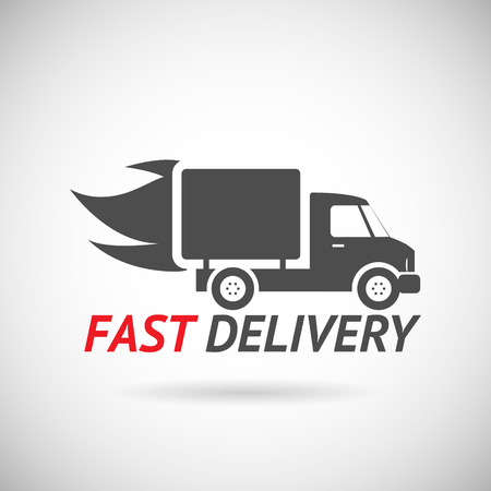 fast computer: Fast Delivery Symbol Shipping Truck Silhouette Icon Design Template Vector Illustration