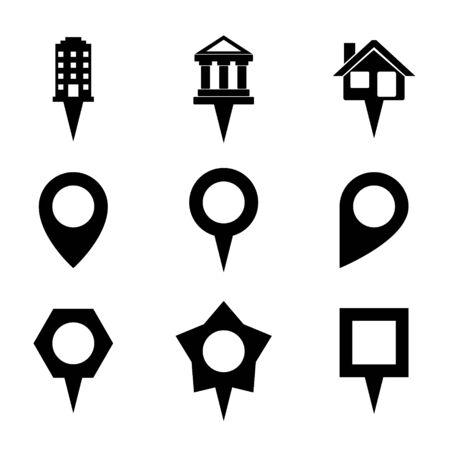 showplace: Landmark and Showplace Symbol Map Pointer Mark Icons Vector Template Illustration Illustration