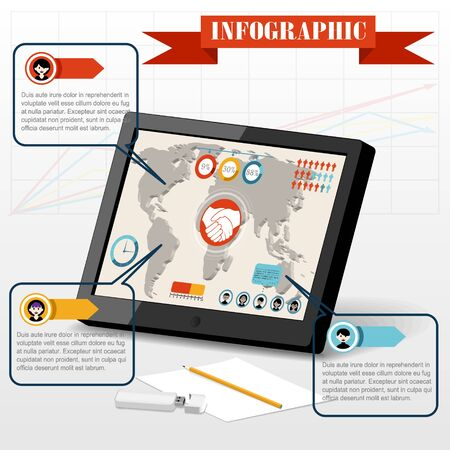 partnership icon: Isometric business social infographics people PC tablet partnership icon on graph 3d world map background vector illustration Illustration