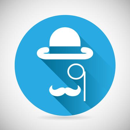 monocle: Gentleman Accessories Symbol Bowler Hat Monocle Mustache Silhouette Icon Stylish Background Modern Flat Design Vector Illustration
