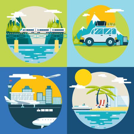 Retro Planning Summer Vacation, Tourism and Journey Symbol Travel Ship Plane Car Train Modern Flat Design Template Vector Illustration Vector
