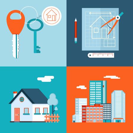 レトロ実不動産シンボル民間住宅建設計画キー セット都市アパート アイコン トレンディな近代的なフラットなデザイン テンプレート ベクトル イ