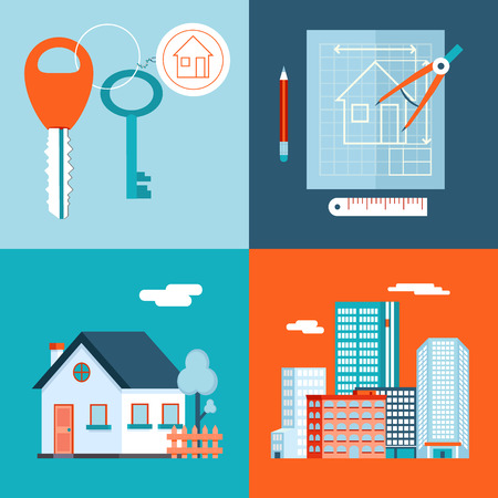garage on house: Retro Real Estate Symbols Private House Construction Plan Keys Set City Apartment Icons Trendy Modern Flat Design Template Vector Illustration Illustration