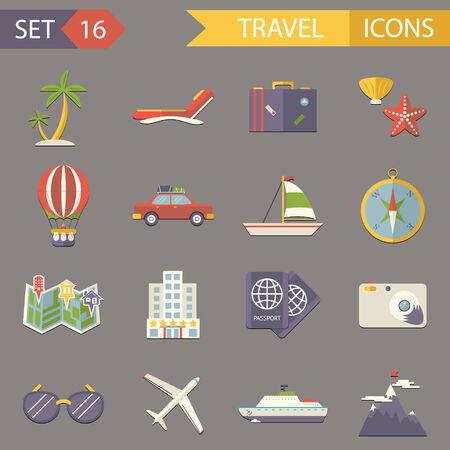 tourist icon: Retro Travel Rest Symbols Tourist Accessories Icons Set Trendy Modern Flat Design Template Vector Illustration