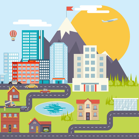 Urban Landscape City Real Estate Mountain Forest Cars Road Modern Flat Design Icon Template Vector Illustration