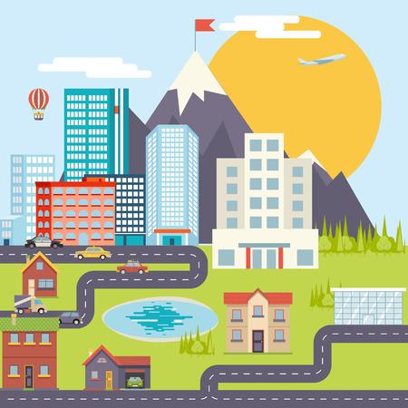mimari ve binalar: Kentsel Peyzaj Şehir Emlak Dağ Orman Otomobil Yol Modern Daire Tasarım Simge Şablon Vektör Çizim
