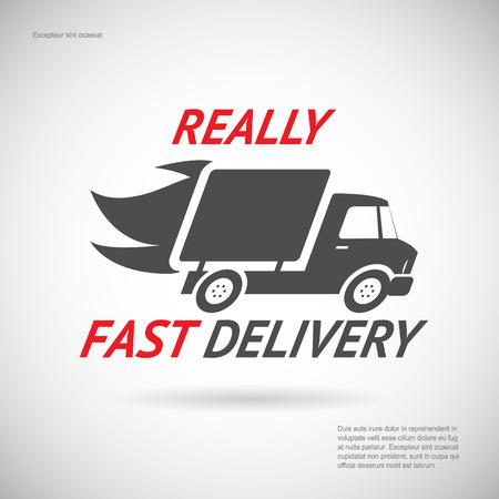 Snelle levering Symbool Verzending Truck Silhouette Icoon Design Template Vector Illustratie Stock Illustratie